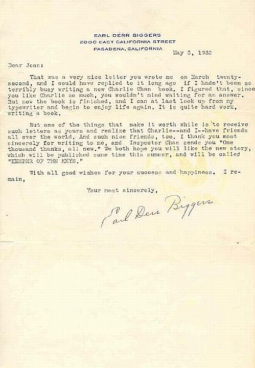 A letter from Earl Derr Biggers, May 3, 1932